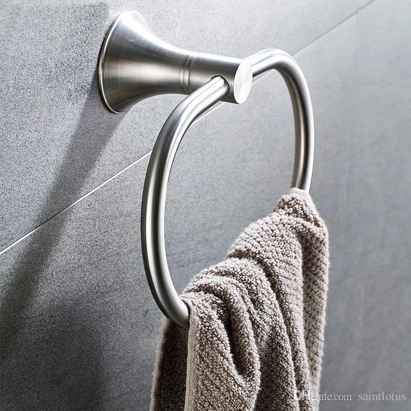 2018 Stainless steel bath towel ring wall mount towel ring bathroom accessories bath towel holder bath hardware