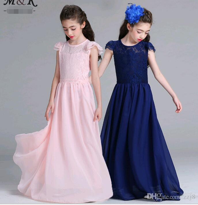 bfbddc658b89 2019 Puff Sleeve Long Dresses For Big Girls Lace Chiffon Floor Length Prom  Wedding Party Dresses Fit 9 15 Years Old Girls From Zzj8, $20.61 |  DHgate.Com