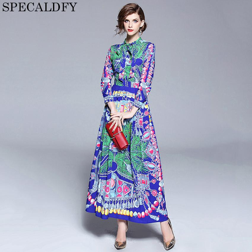 d4d19e8368 Designer Runway Dresses 2018 Women High Quality Printed Vintage Bohemian  Dress Casual Long Maxi Dress Luxury Robe Femme Online with  70.14 Piece on  ...