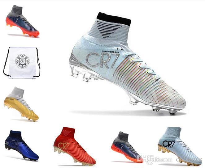 8ff387f2481d41 2019 High Top Mens Kids Soccer Shoes Mercurial CR7 Superfly V FG Boys  Football Boots Women Youth Soccer Cleats Cristiano Ronaldo Box Bag From  Cr7shoes