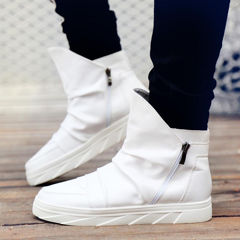 b91289881f28a Compre Zapatillas Para Hombres Zapatos De Cuero Casuales Zapatillas De Hip  Hop Bailando Street Fashion High Top Botas Martin Martin Con Cremallera A   48.69 ...