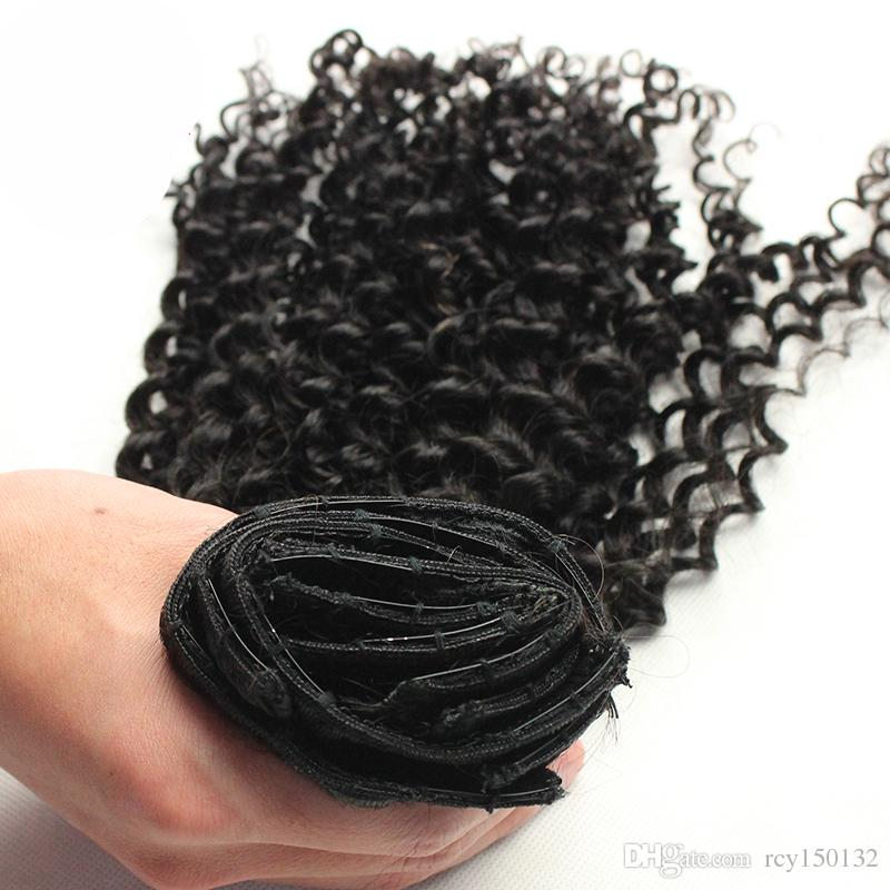 Kinky Curly Hair Machine Made Remy Clip In Human Hair Extensions Thick Natural Color 100g