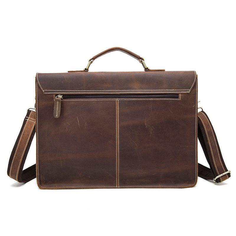 MONOLETH Genuine Leather Men Briefcase Crazy Horse Leather Handbags Office Bags for Mens Messenger Bag Men Laptop Bag Briefcases