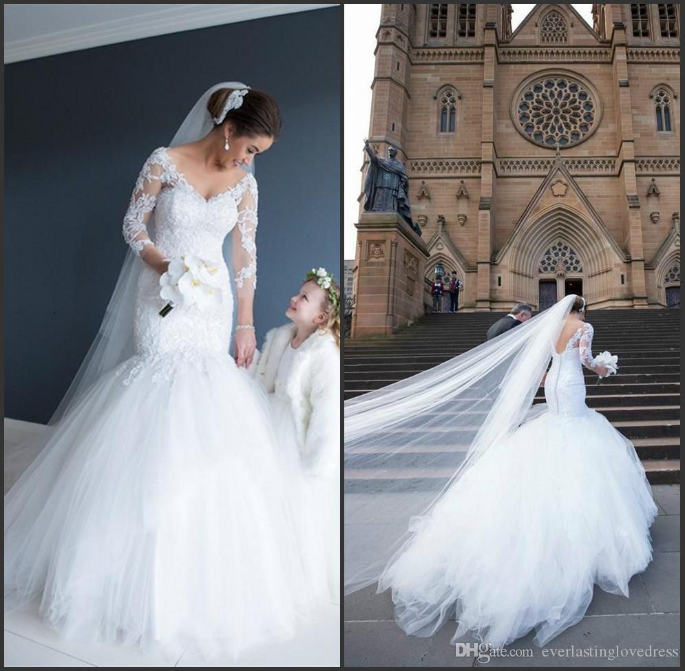 Discount V Neck Low Cut Back Tulle Brush Bottom Mermaid Wedding Dress With  Half Sleeves Vestido De Novia Con Mangas Simple Wedding Gown Unique Wedding  Gowns ... dba154343