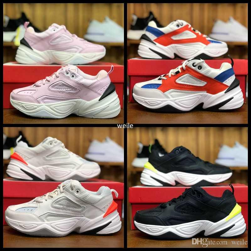 timeless design 4d57f 6d073 2018 New Air Monarch the M2K Tekno Dad Womens Mens Running Shoes for Top  quality White Black Pink Designer Sports Sneakers Man Zapatillas