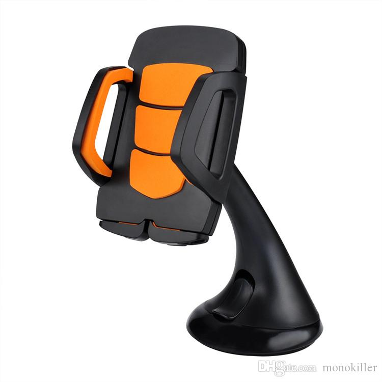 Car Phone Holder Mount Stand Support Dashboard, Windshield Cell Phone Holder for Car with Flexible Arm Universal for Smartphone