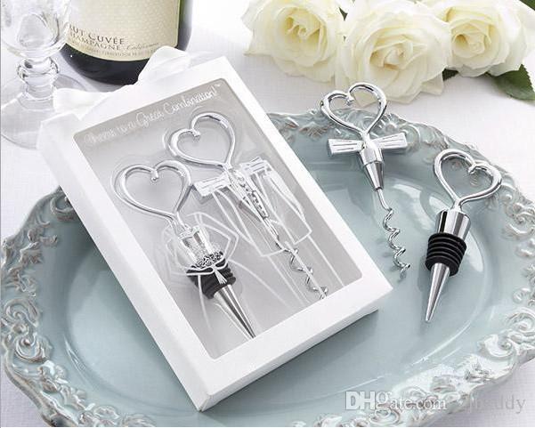 파티 반환 선물 하트 커플 위대한 조합 와인 오프너와 마개는 신부 샤워 선물  T 도매를 설정합니다