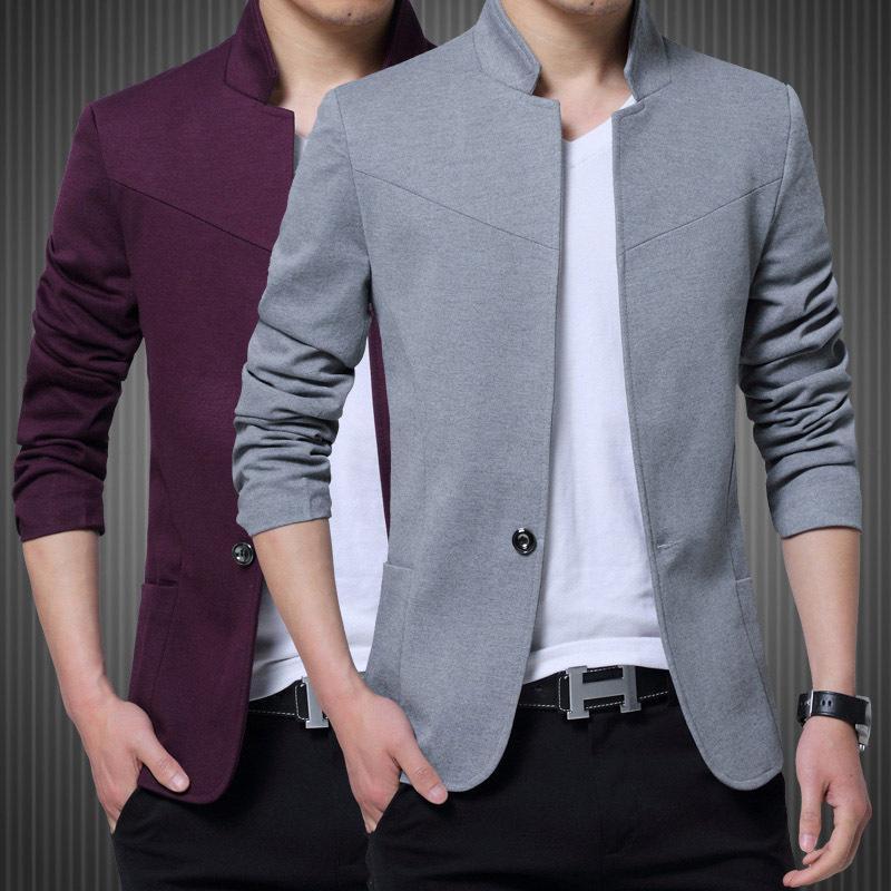 Erkek Casual Slim Fit Katı Suit Blazer Ceket Erkekler Düğün Elbise Blazer Erkek Standı Yaka Blazer Masculino Pluse Boyutu FS-125