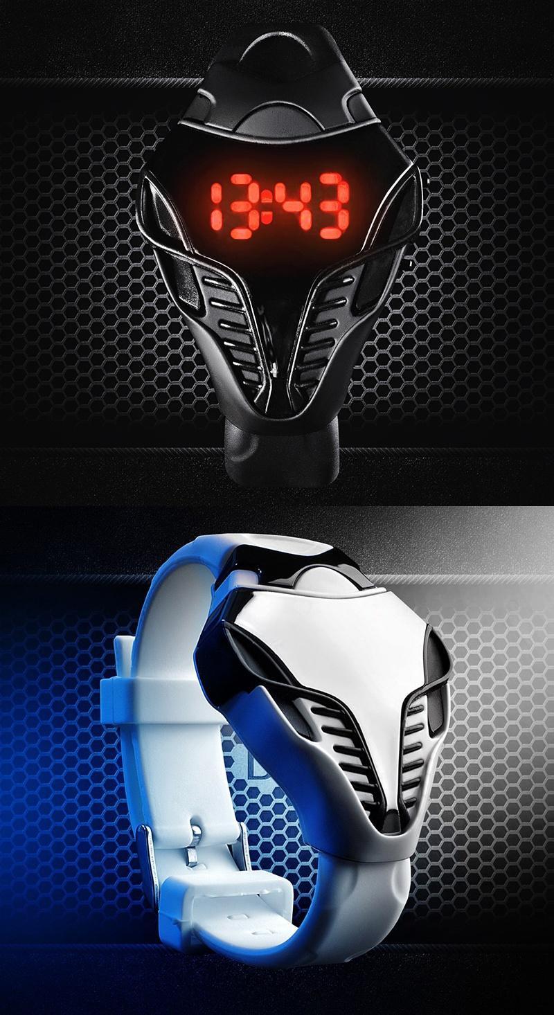 Moda Siyahbeyaz Renk erkekler LED Dijital İzle Cobra Üçgen Arama Silikon Spor Saatler Taktik İzle Çocuklar yeni yıl hediye