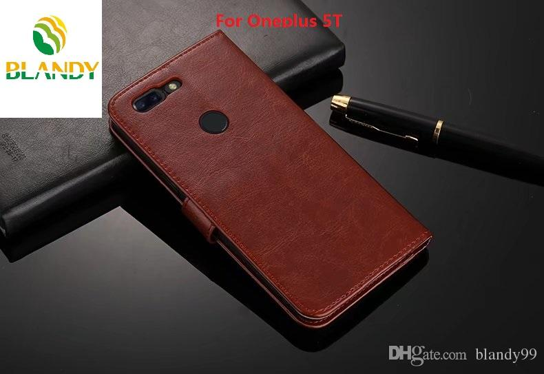For Oneplus 5T Crazy Horse Leather PU TPU Wallet Case cover For Oneplus 5