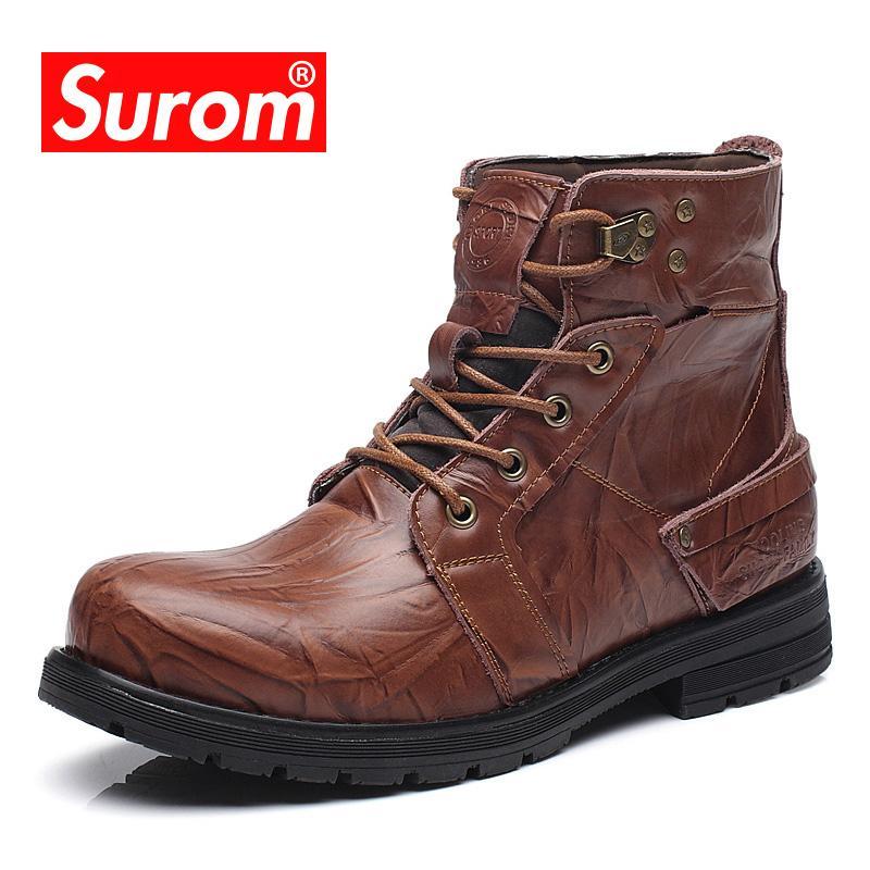 Compre SUROM Marca Homens Botas De Moda Masculina Ankle Boots Redonda Toe  Lace Up Sapatos De Inverno Homem Trabalho Calçado De Segurança Da  Motocicleta ... a236de000d49e