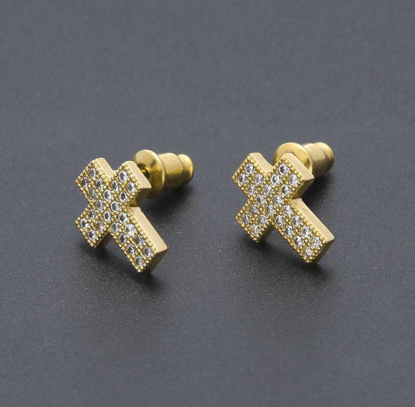 e5e0ef801 2019 18k Gold Hip Hop Cross Stud Earrings Mens Bling Bling Iced Out Micro  Pave Cubic Zircon CZ Crucifix Earrings For Women Rock Jewelry From  Laputajewelry, ...