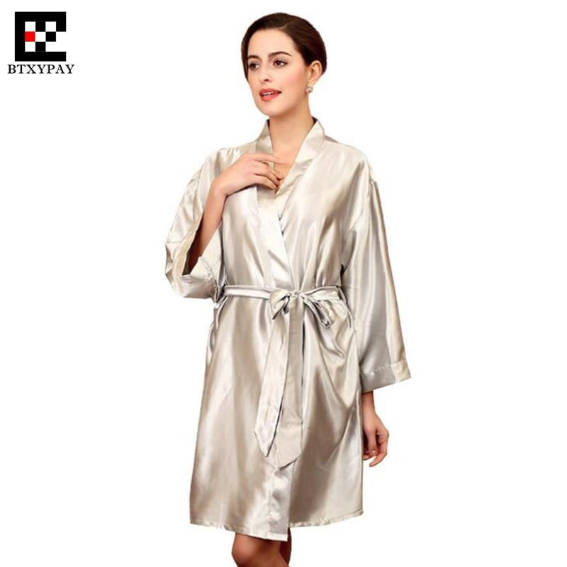 b4fb01deb6ea 2019 50p Top End Women Imitation Silk Robes Spring Summer Lady Home Pajamas  Silky Smooth Loose Big Yards Knee Length Hotel Nightgown From Lucycloth