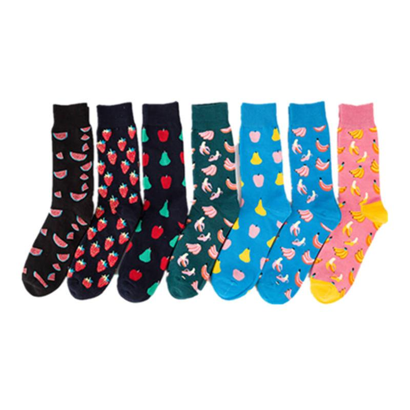 f66006fad50 Mens happy socks man combed cotton funny socks colourful fruit long art sock  men s fashion dress skateboard sock