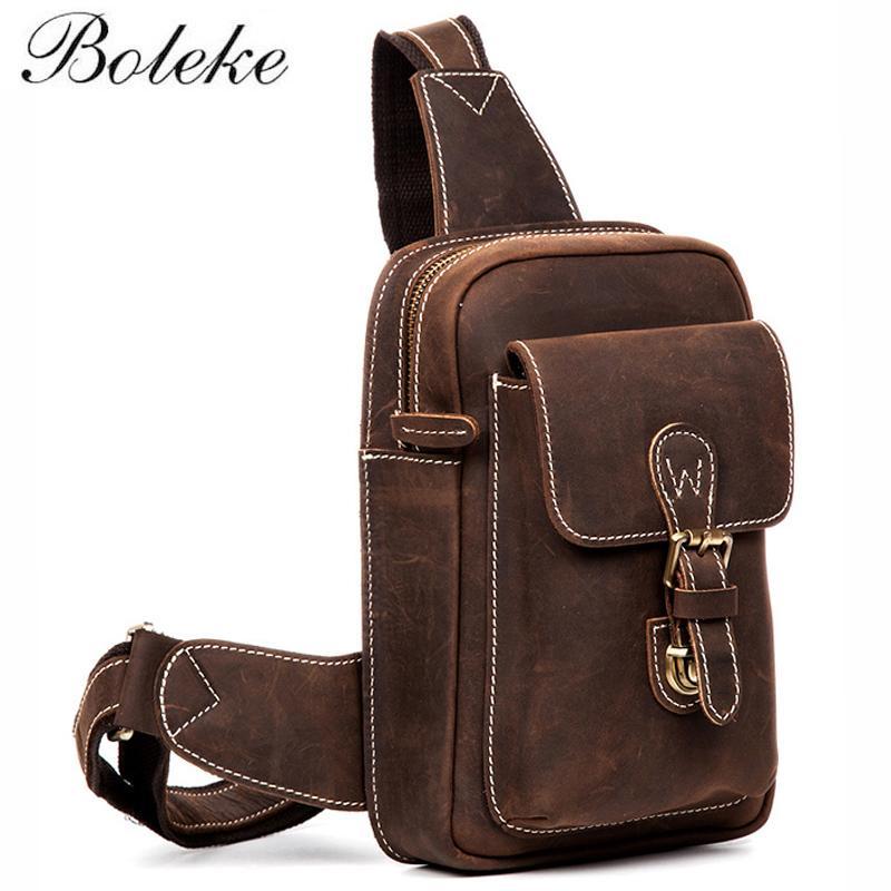 Men Vintage Crazy Horse Genuine Leather Chest Bag Male Handmade ... ffb27ecb9b3c1