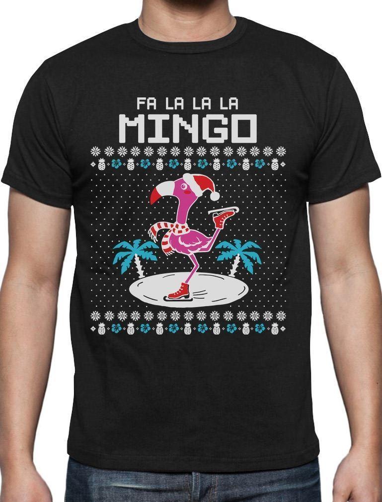 fa la la flamingo ugly christmas sweater funny xmas t shirt gift idea new 2018 fashion sleeve harajuku tops cheap t shirts online biker t shirts from - Cheap Funny Ugly Christmas Sweaters