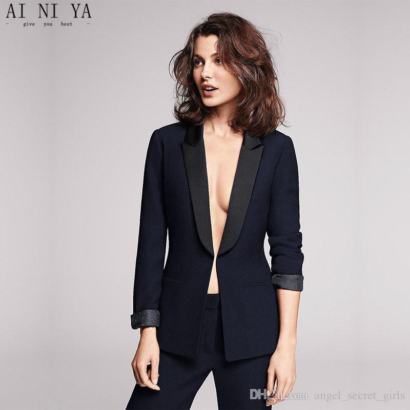 meet 04447 7b11f Nuovi abiti da donna su misura, moda, signore slim, abito da lavoro, abito  blu scuro, completo a due pezzi da donna (cappotto pantaloni)
