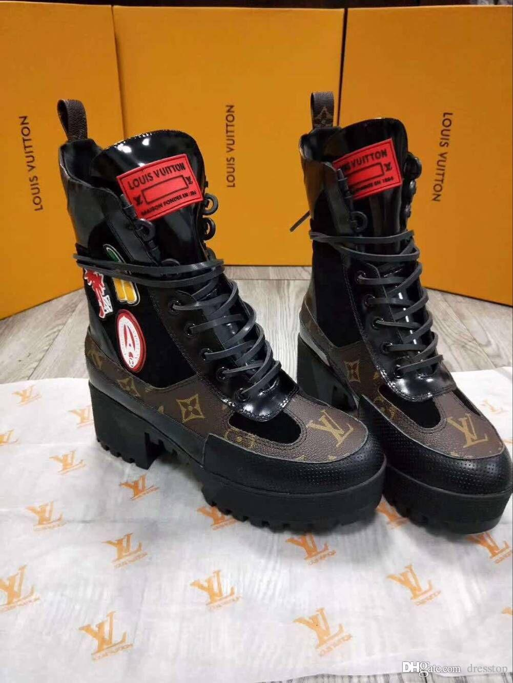 Acheter Luxe Rétro Ultra Bottes Femmes Chaussures Haute Qualité Bottes  Designer Chaussures Avec Nap Douce Automne Hiver Bottes Femmes Botte Plus  La Taille ... 559ed0faa4d