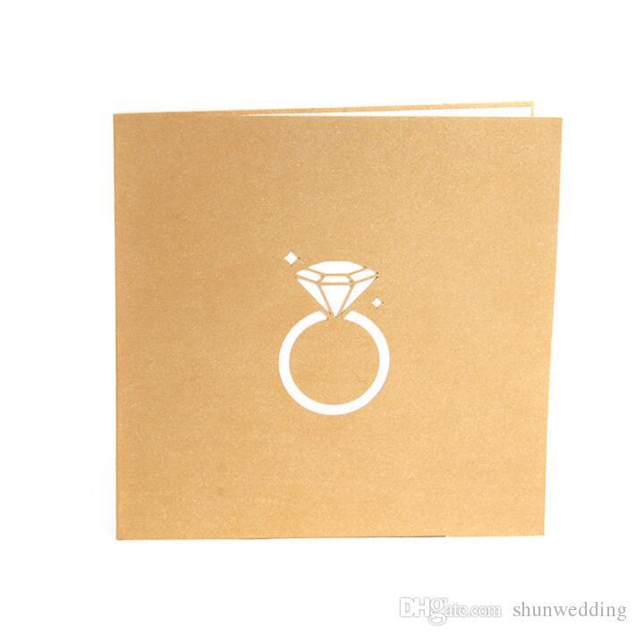 Ouro Corte A Laser 3d Anel Pop up Convites de Casamento Dia Dos Namorados Artesanal Romântico para Amante Cartão Postal Cartão Do Presente Do Cumprimento