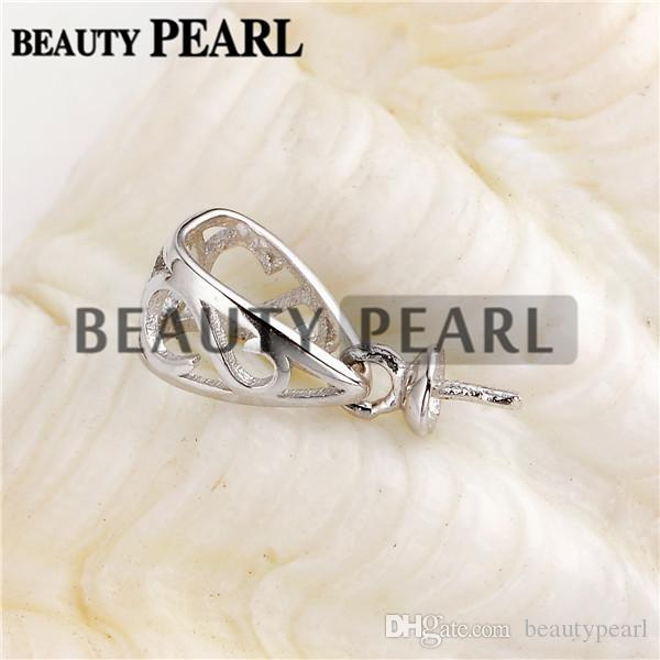 Pendant Bail Pearl Mounting Fine Jewelry DIY Silver Connector Small Charm 925 Sterling Silver