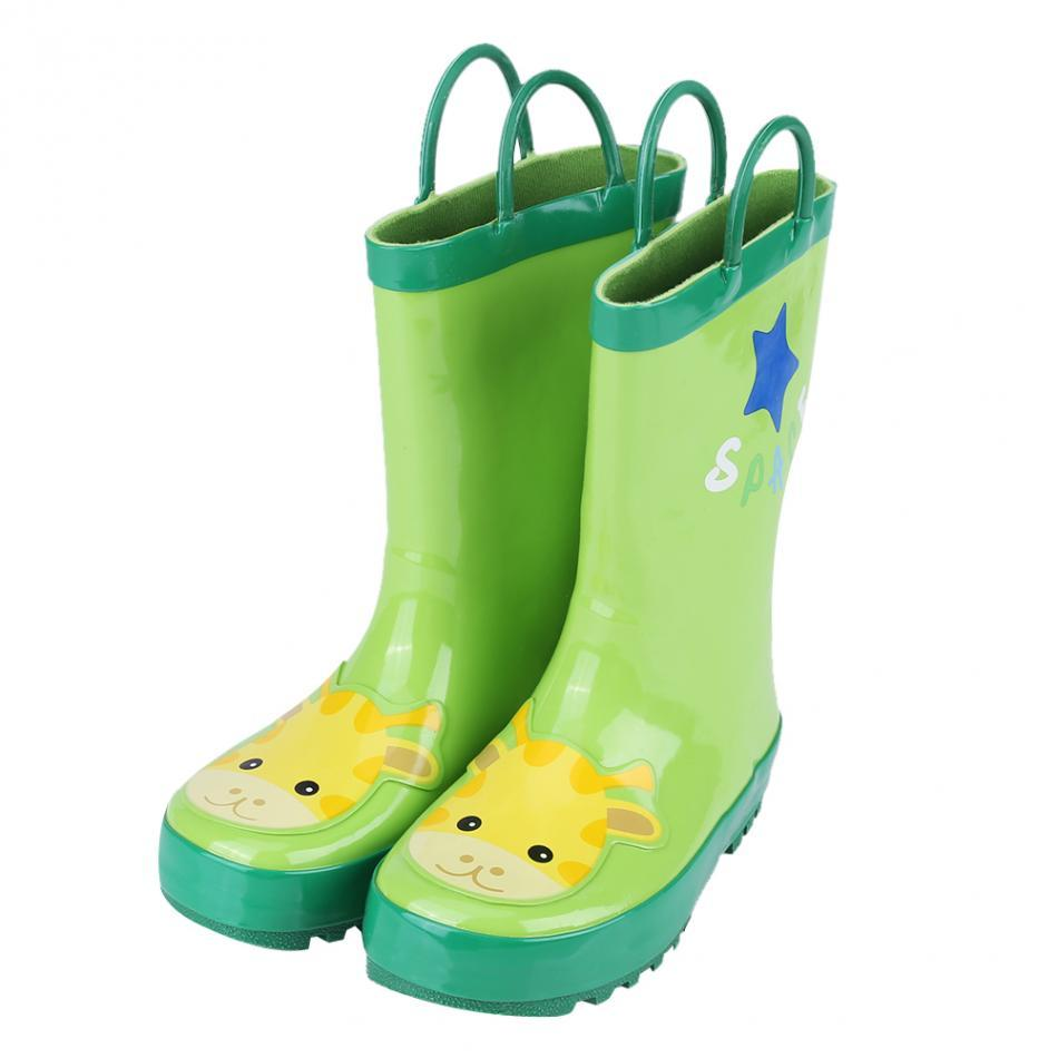 2 Sizes Children Kid Rain Boots Anti-slip Galoshes Waterproof Rubber Rain  Shoe Wellies Breathable Shoes