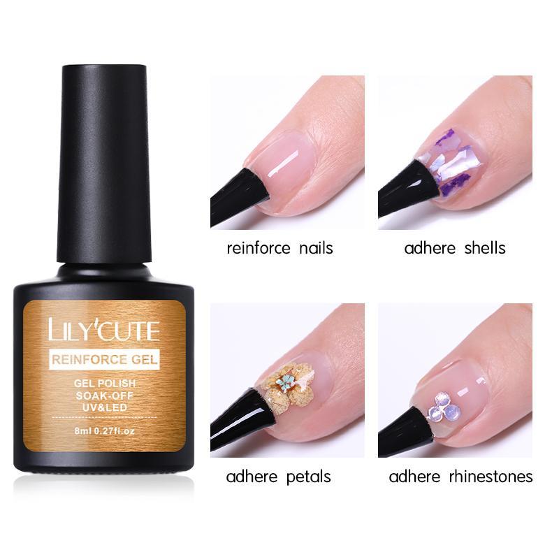 LILYCUTE Nail Strengthener Hardener Reinforcement UV Gel Soak Off  Rhinestone Adhesive Nail Glue Gel 8ml