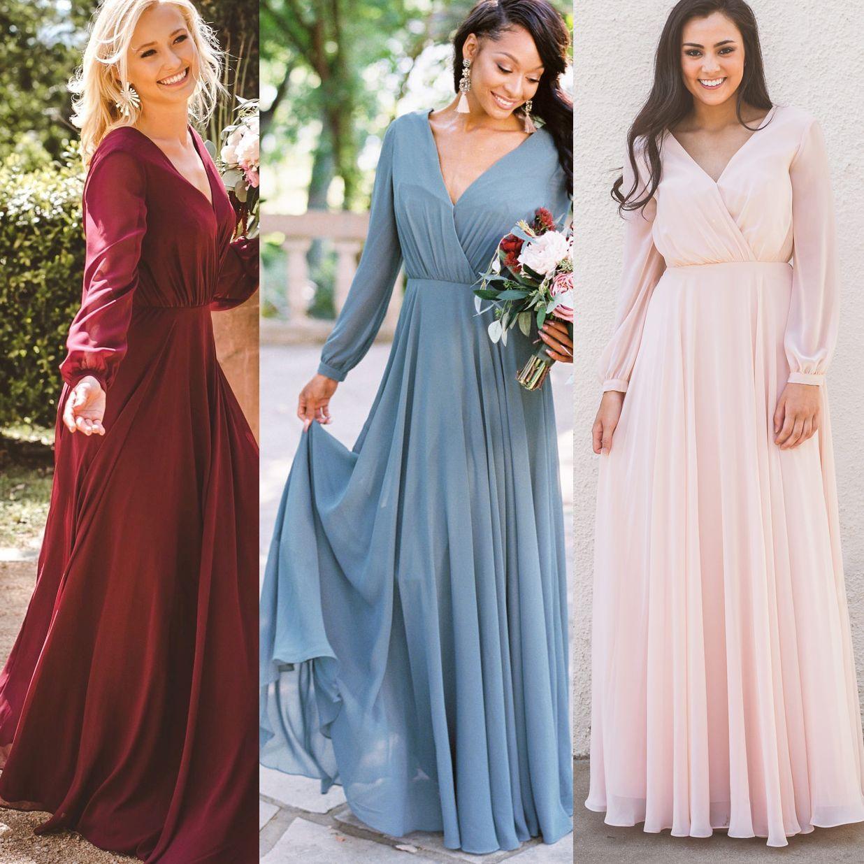 Burgundy Blue Pink Bridesmaid Dresses Chiffon Long Sleeves V Neck ...