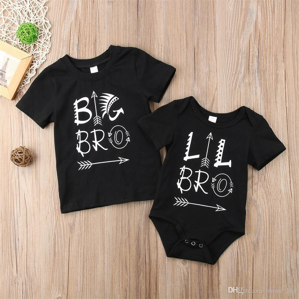 09a4b25115436 2019 Little Brother Romper And Big Brother T Shirt Black Newborn ...