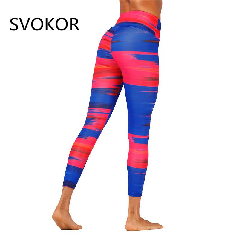 a34fd28b177298 2019 SVOKOR High Waist Leggings Women Polyester Red And Blue Stitching  Trousers Elasticity Breathable Push Up Casual Girl Legging From Lbdapparel,  ...