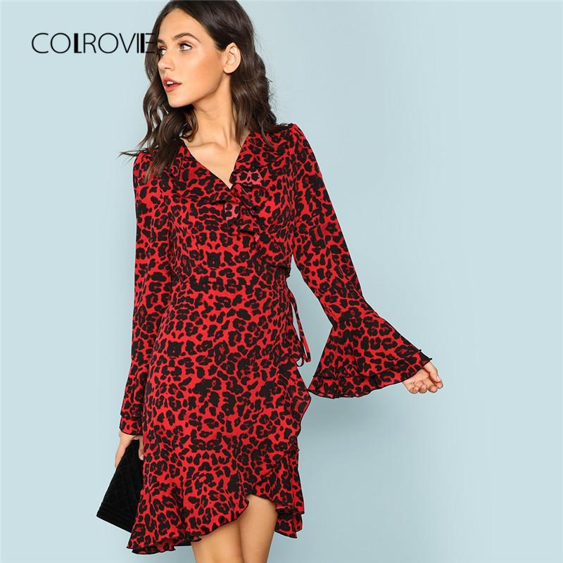 f66bf70dc 2019 COLROVIE Red Leopard Ruffle V Neck Flounce Sleeve Sexy Dress 2018  Autumn Long Sleeve Party Dress Elegant Mini Women From Pattern68