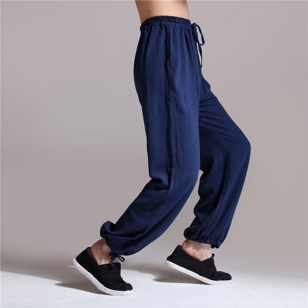 39f11cd806b6 Acquista Pantaloni In Lino Da Uomo Elastico In Vita Sand Wash Kung Fu Tai  Chi Pantaloni Lunghi Uniformi Pantaloni In Lino Casual Pantaloni Da Jogging  ...