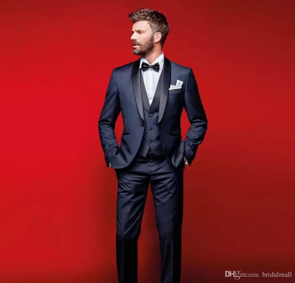 c9c84639670d Classy Navy Blue Wedding Tuxedos Slim Fit Suits For Men Groomsmen Suit  Three Pieces Cheap Prom Formal Suits (Jacket +Pants+Vest+Bow Tie)