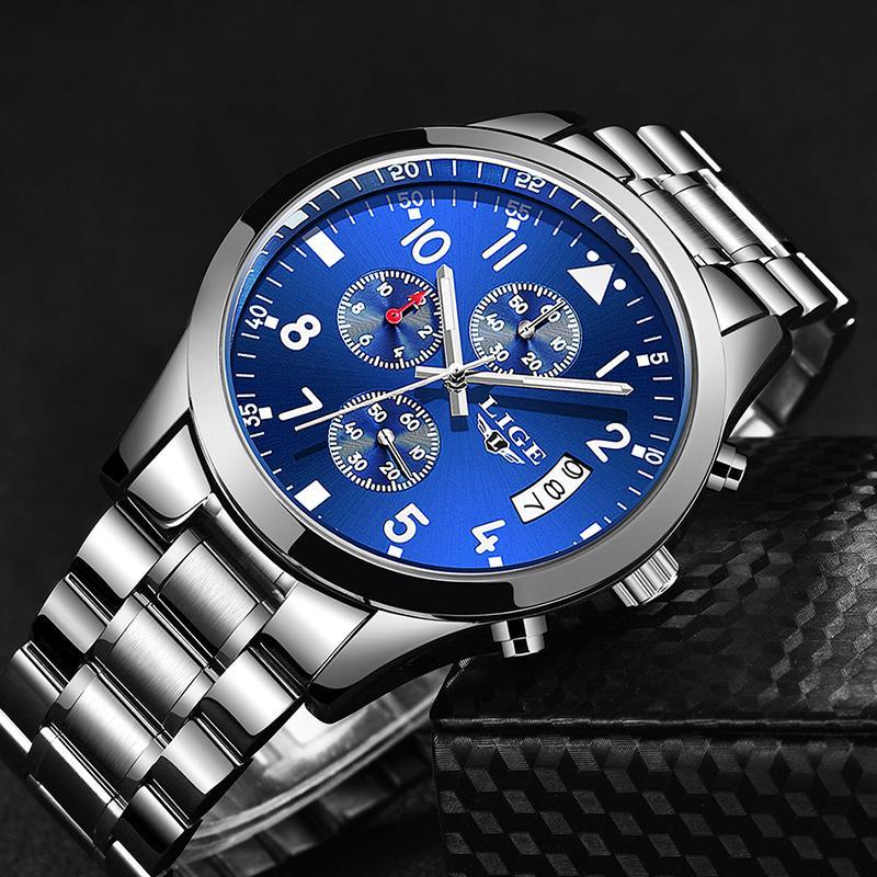 e338cec44b3 LIGE Mens Watches Top Brand Luxury Fashion Business Quartz Watch Men Sport  Full Steel Waterproof Black Clock Relogio Masculino Best Wrist Watch Best  Watch ...