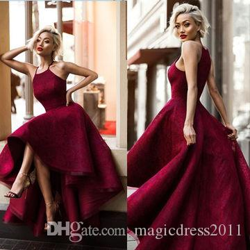 Longo Sexy Red Ball Gown Halter Sem Mangas Vestidos de Baile 2019 Yousef Aljasmi Hi-Lo Sweety Lace Decalque Moda Senhoras Tuxedo formal