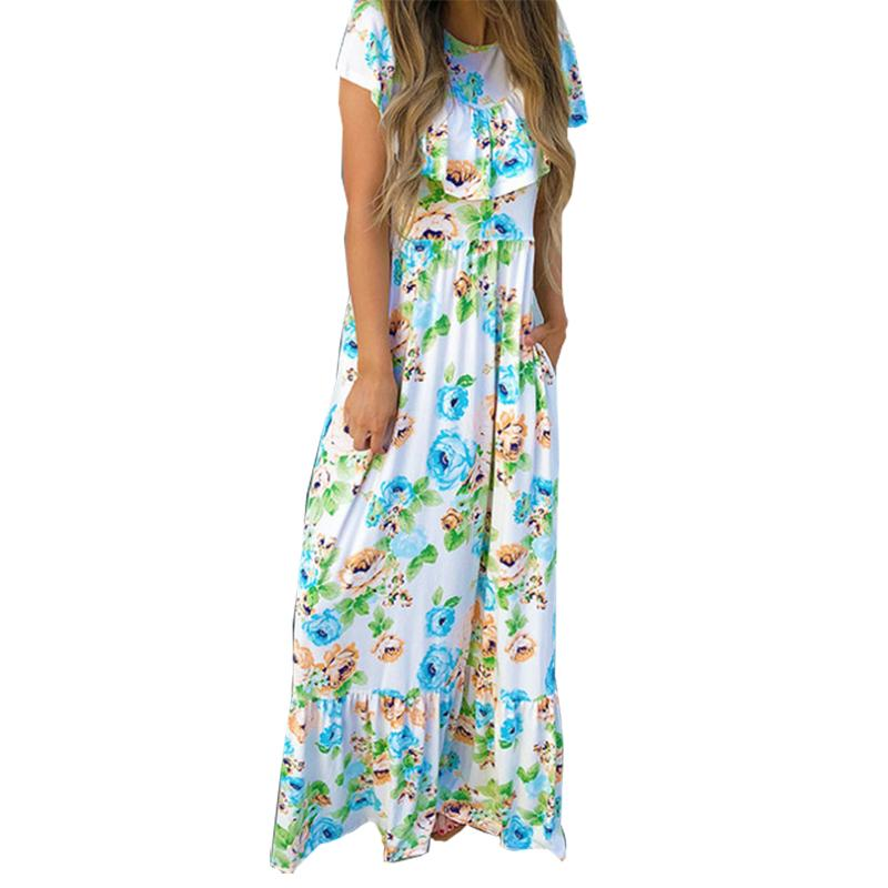 d37e9a8a756 Butterfly Sleeve Summer Ruffles Long Maxi Dress Beach Boho A Line Sundress  2019 NEW Floral Printed Plus Size Women Dresses GV292 White And Blue Dresses  For ...