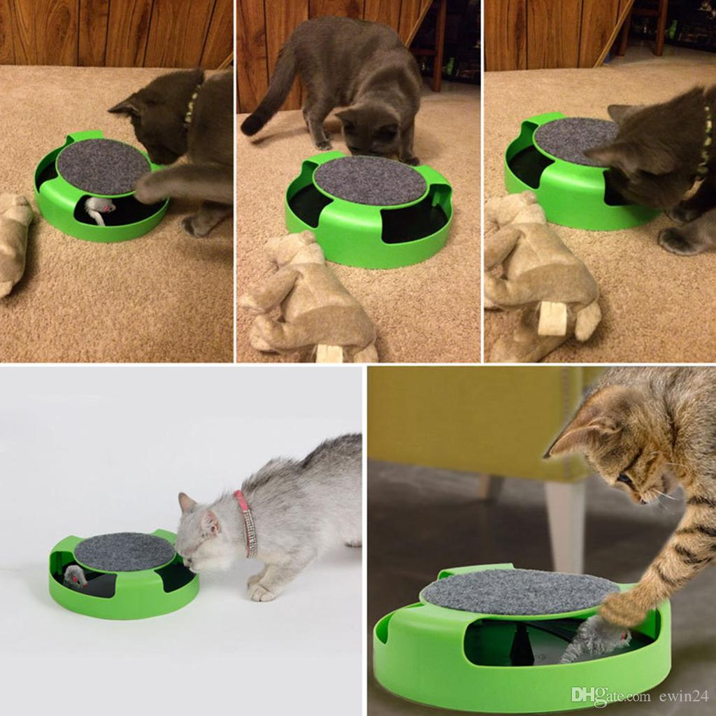 Interactive Training Cat Toy Turntable Funny Cat Educational Toys Cat Scratching Plate Removable Mouse Pet Supplies Green