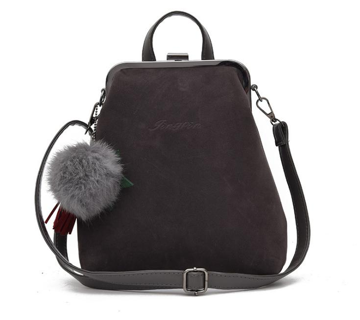 New Fashion Mini Nubuck Leather Female Backpack Simple School Bag For Girls  With Hair Ball Korean Style Women Backpack L313 Backpacks For College  Backpacks ... 8f3b0215a9243