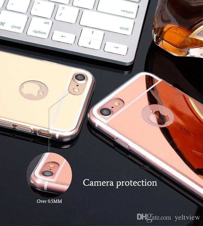 Mirror Luxury phone case For Samsung iPhone X Case Electroplating Chrome Soft TPU Full Cover For iPhone 5s 6s 7 8 Plus case