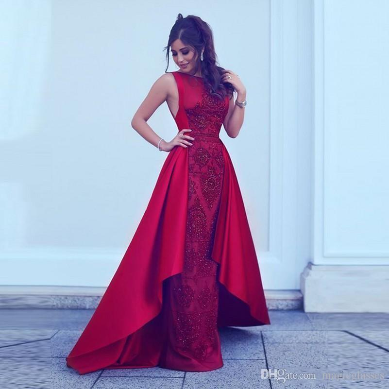 Kırmızı Gelinlik Saten Tren Sequins Ile Boncuk Kılıf Parti Elbise Kolsuz Fermuar Geri Ünlü Elbiseleri Abiye Giymek