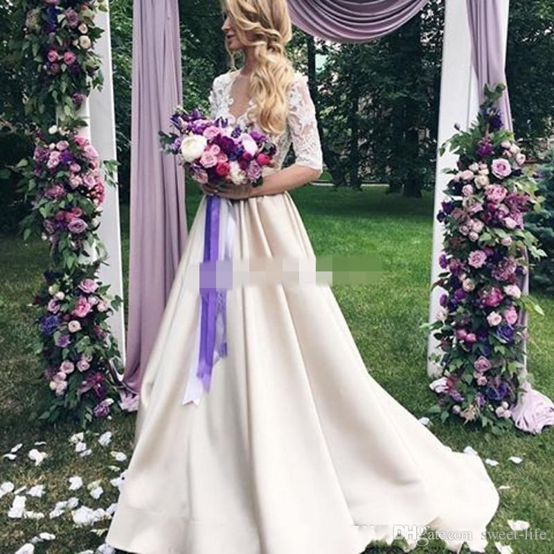 2018 Newest Champagne Wedding Dresses Sheer Neck Half Sleeves Appliques Lace Satin Long Wedding Gowns See Through Back Vintage Bridal Dress