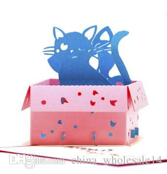Pop Up Birthday Card Kids Cats Handmade Thank You Card 3d Greeting