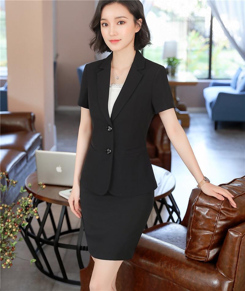 282ee2401d5a 2019 Summer Plus Size Women Blazers And Jackets Pant Set Casual Short  Sleeved Blazer Skirt Suit Feminino Manga Longa Office Suit Ladies Skirt Set  From ...
