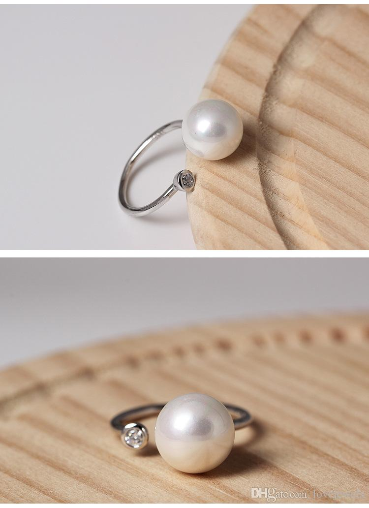 Original adjustable charm Jewelry fashion sterling silver 925 ring Shell pearl Inlaid zircon Female woman open rings china direct wholesale