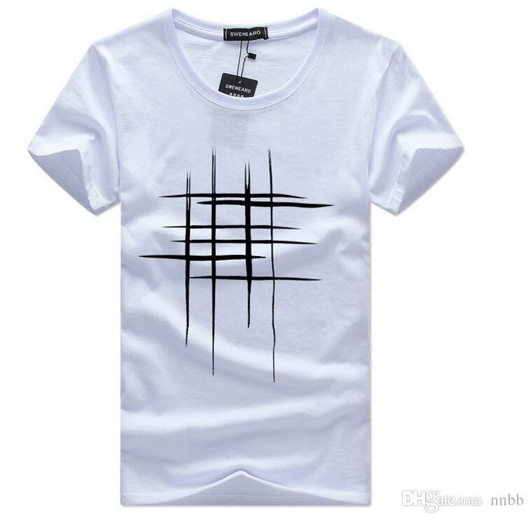 Compre Vender Simple Diseño Creativo Línea Cruz Imprimir Algodón Camisetas  Hombres Recién Llegado Verano Estilo Manga Corta Hombres Camiseta Tamaño S  5xl A ... 4fe9ab2172512