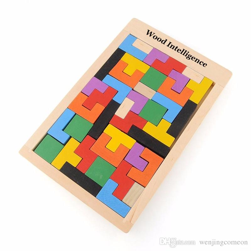 Colorful Wooden Tangram Brain Teaser Puzzle Toys Tetris Game Preschool Magination Intellectual Educational Kid Toy Gift