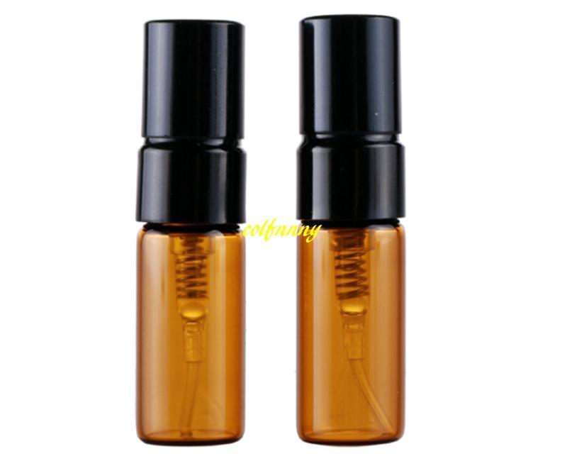 3ML 5Ml Amber Spray Perfume Bottle Empty Brown Parfum Sample Glass Atomizer Bottles Dia 14mm