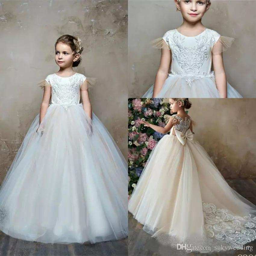 4bd9d0e589c Flower Girl Dresses With Big Bow 2019 Princess Jewel Neck Lace Appliqued  Tulle Kids Birthday Formal Gowns Sweep Train Fairy Flower Girl Dresses  Flower Dress ...
