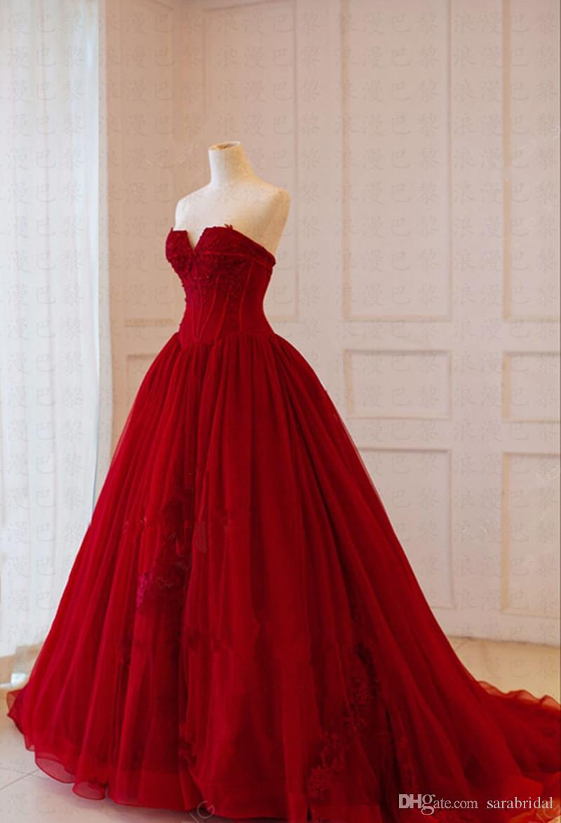 07a6a004e8 2018 Real Picture Red Quinceanera Dresses V Neck Lace Applique Corset Masquerade  Ball Gown Sweet 16 Prom Dress Vestido De 15 Anos Africa Inexpensive Dresses  ...