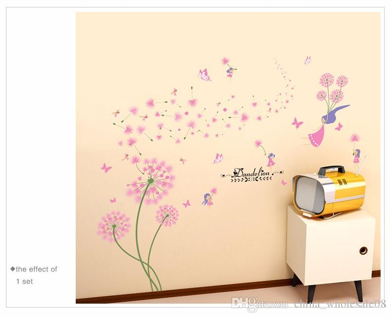 Pink Dandelion Wall Stickers Flower Angel Wall Decals Vinyl Diy Home Decor  For Living Room Kids Room Decorationzi 396 Decorating With Wall Decals  Decoration ...
