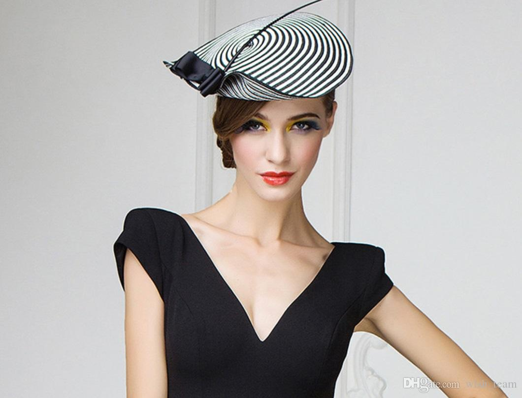 Fascinator cappelli da sposa per le donne elegante nero bianco a strisce Cupido Arrow Pillbox cappello Vintage Cocktail Ladies Chiesa Fedora